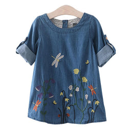 Girl's Denim Butterfly Embroidery Dress