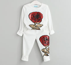 Girl's Long Sleeve Rose Sequin Sets