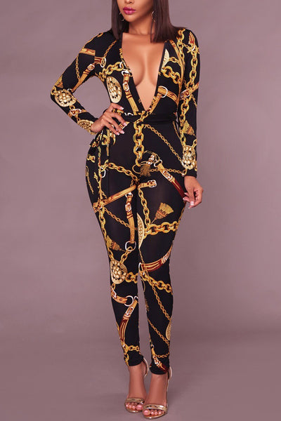 Chains of Gold Jumpsuit One Piece - 2 Colors Available!