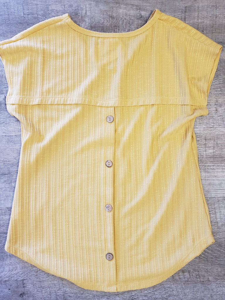 Mustard Yellow Tee with Back Buttons
