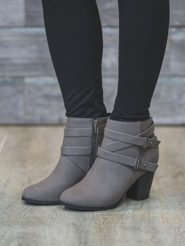 Mid Grey Heeled Bootie