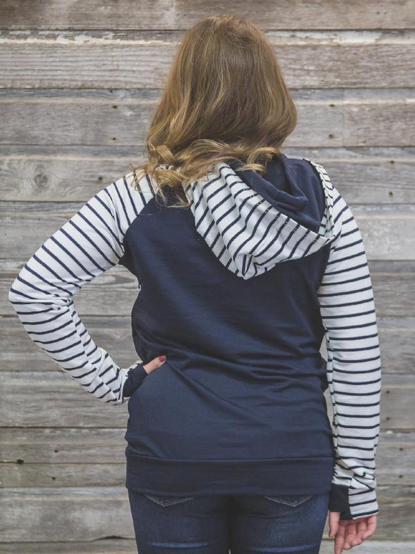Navy Striped Double Hoodie