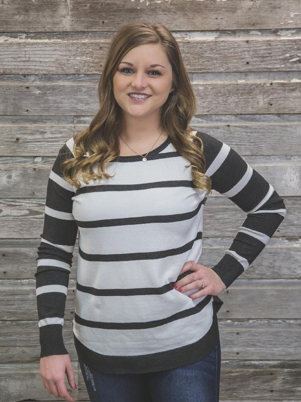 Ivory & Charcoal Striped Sweater