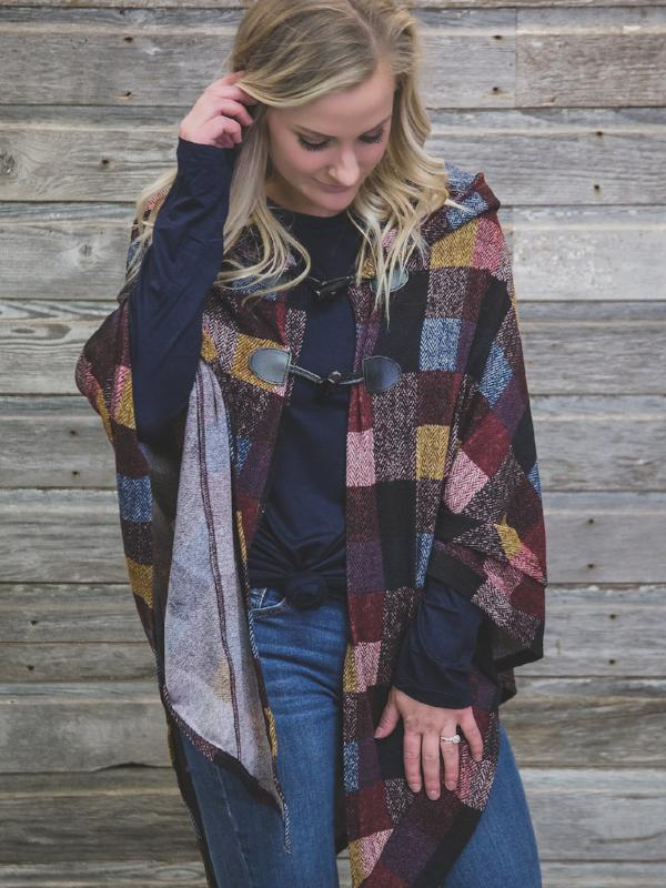 Burgundy Hooded Poncho
