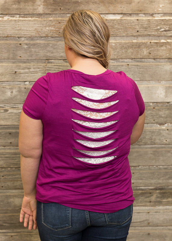 Magenta Cut-Out Back Tee