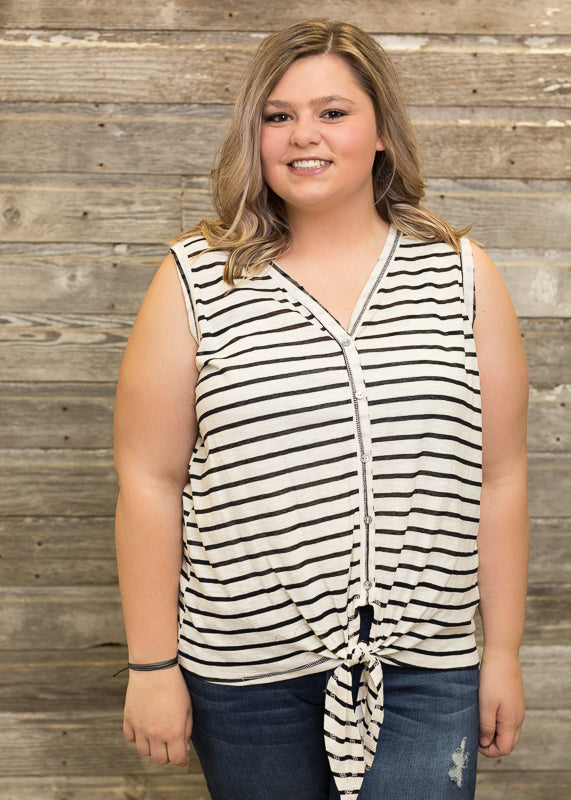 Black Striped Tank