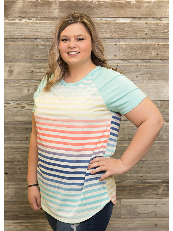 MultiColor Striped Tee (Curvy)