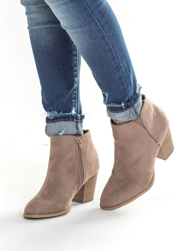 Light Cement Zipper Bootie