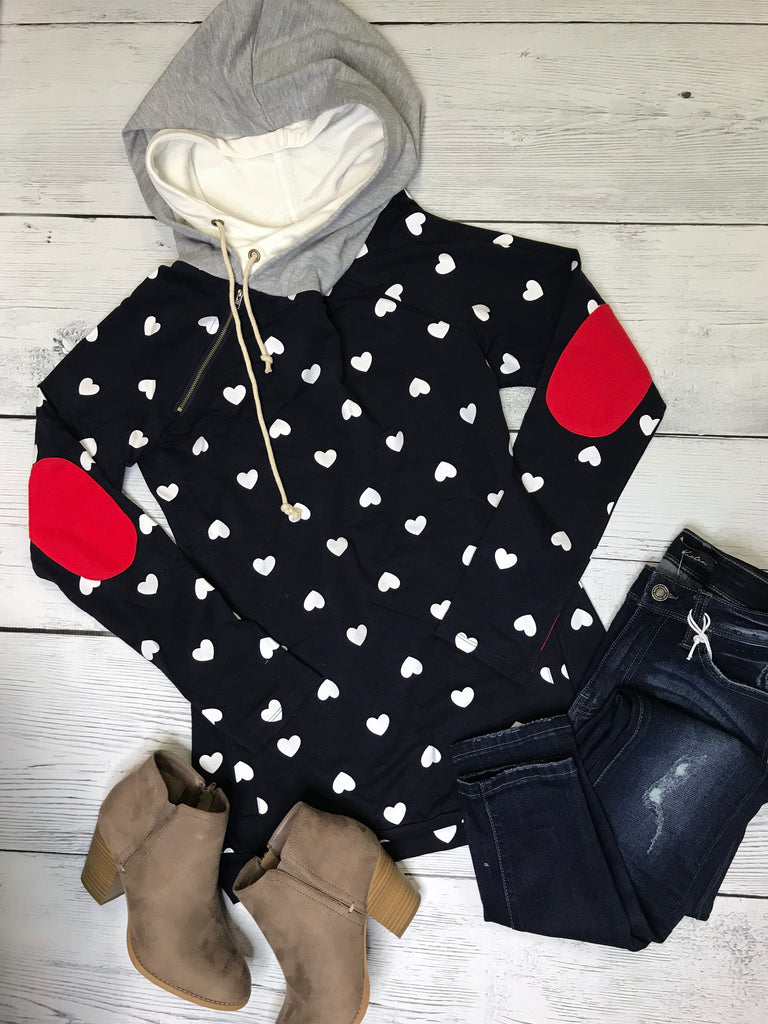 Navy Hoodie with Heart Shape Print