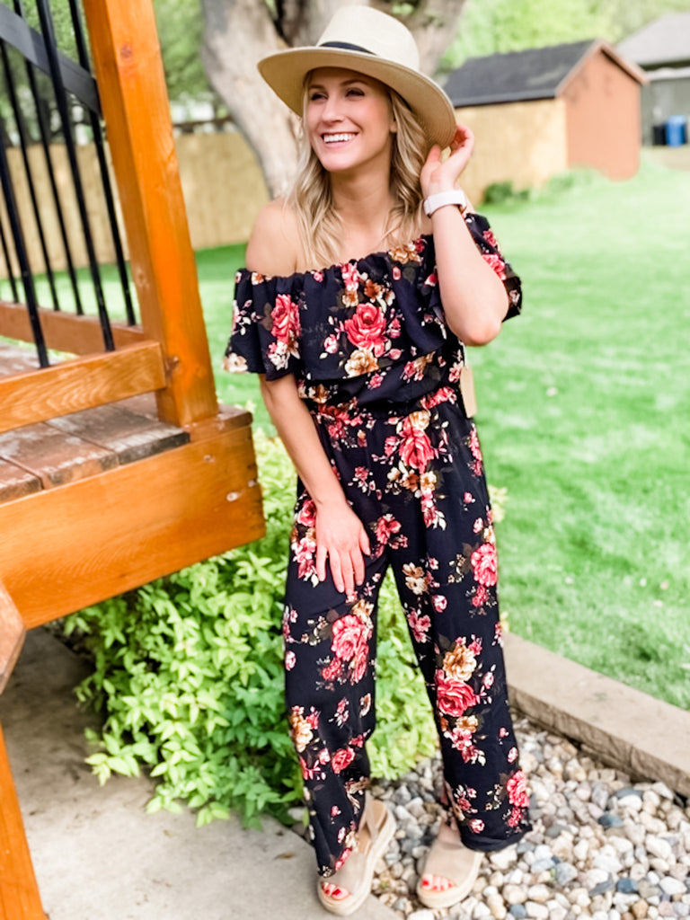 Off Shoulder Floral Romper