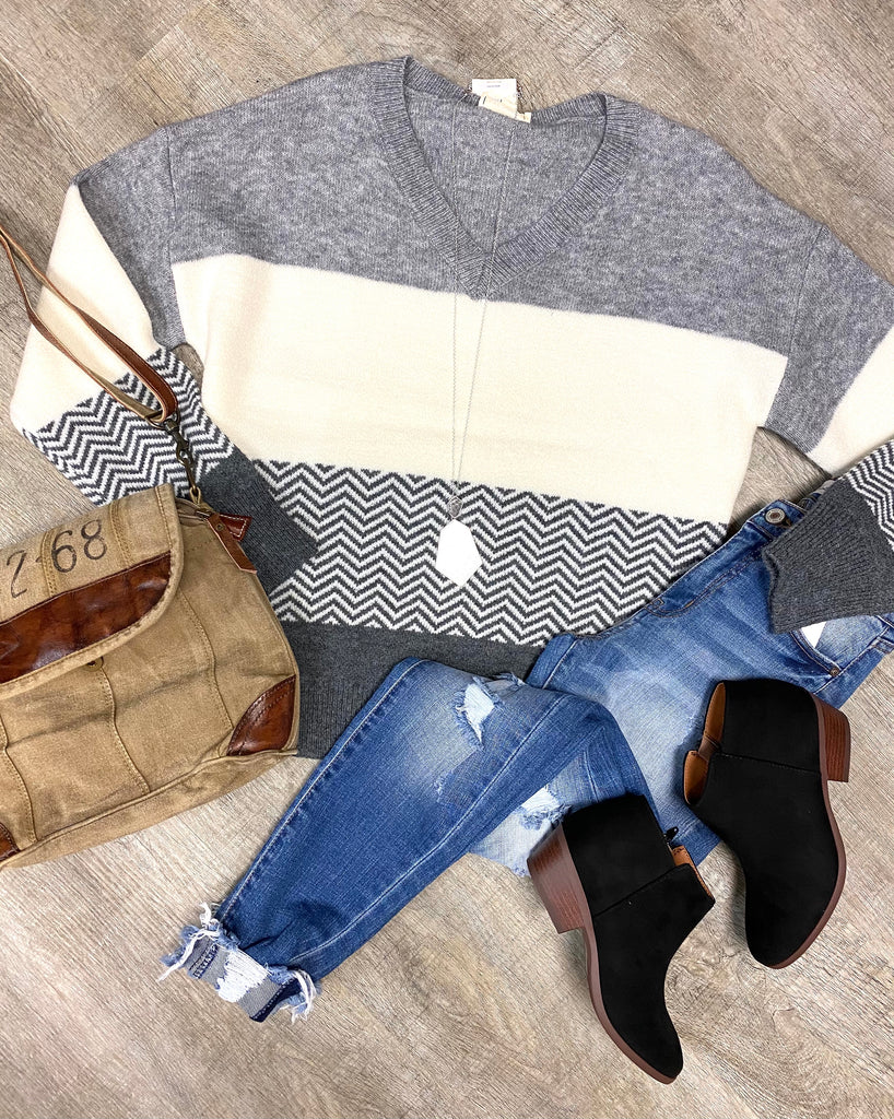 Grey Striped V-Neck Sweater