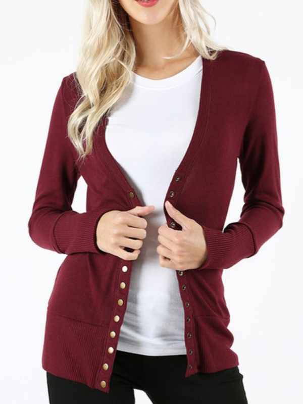 Snap Front Cardigan - Dark Burgundy