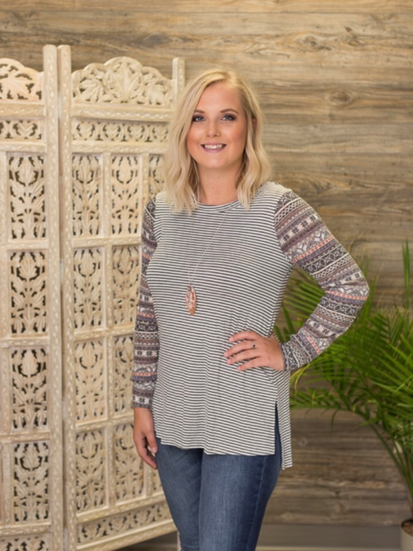 Striped Tunic Top (Curvy)