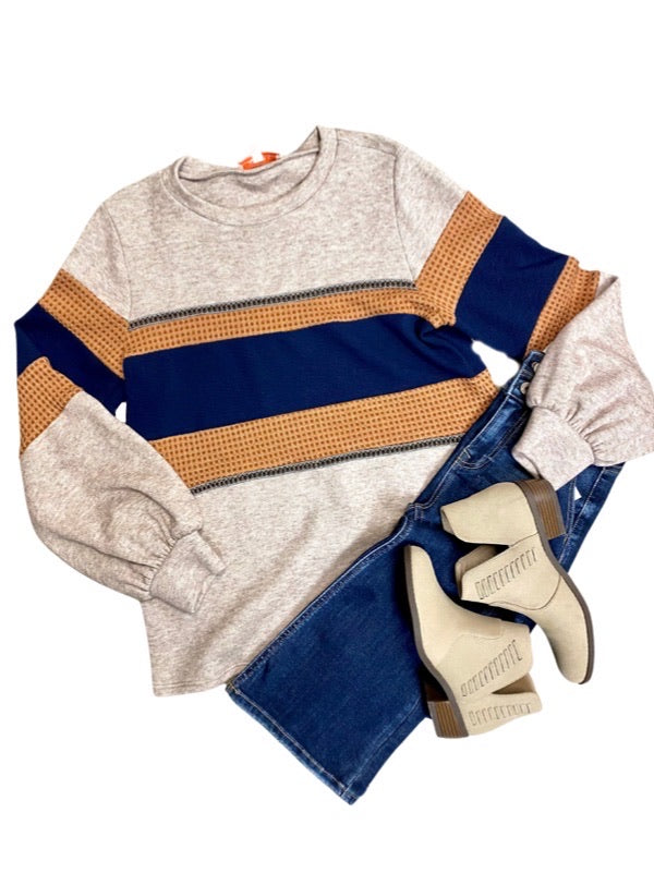 Mocha Colorblock Long Sleeve Top
