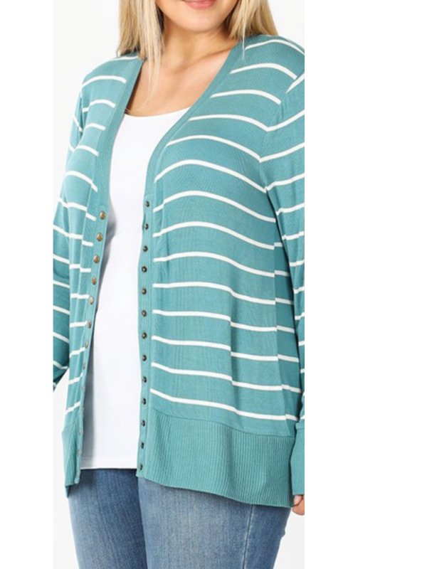 Striped Snap Front Cardigan Curvy (Multiple Colors)