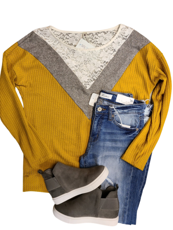 Mustard & Lace Top