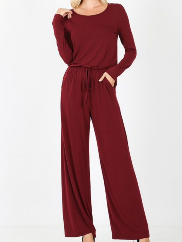 Burgundy Long Sleeve Jumpsuit
