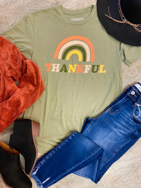 Rainbow Thankful Tee