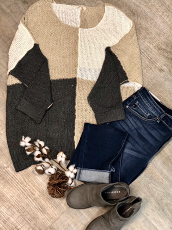 Taupe & Grey Sweater Top
