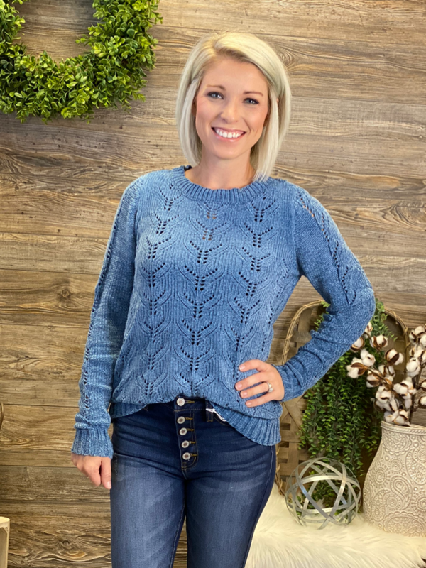Denim Blue Pullover Sweater