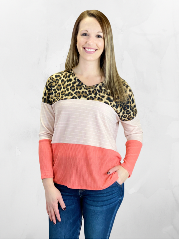 Coral Mixed Print Long Sleeve Top