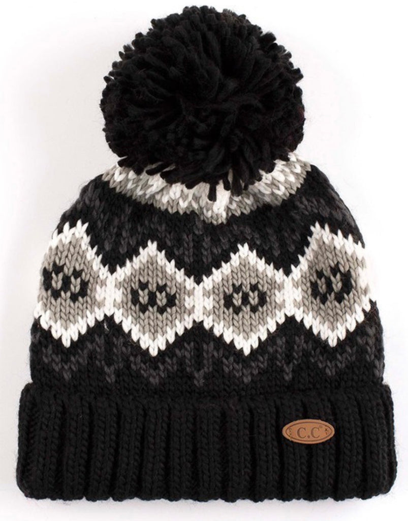 CC Honeycomb Pattern Hat with Knit Pom