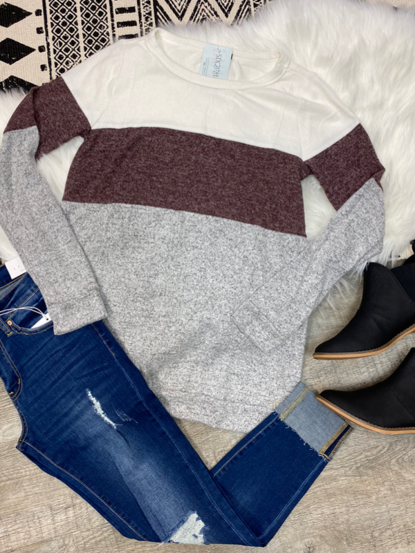 Heather Grey & Ivory Colorblock Long Sleeve Top