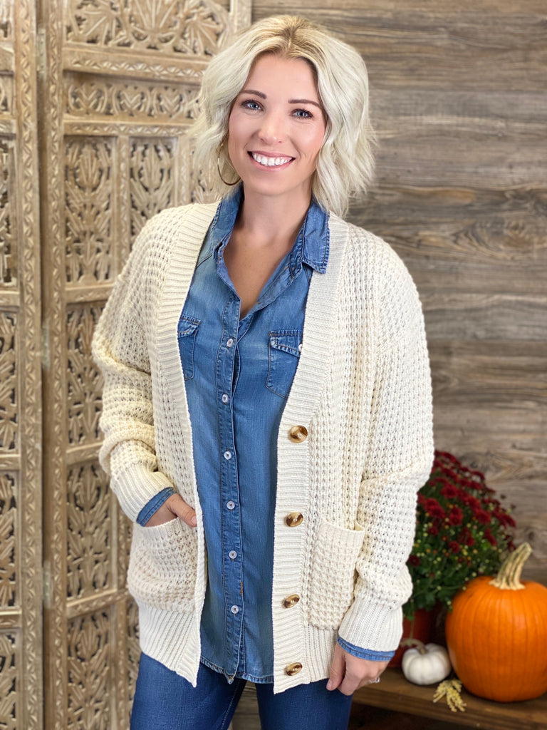 Cream Waffle Cardigan Sweater with Pockets