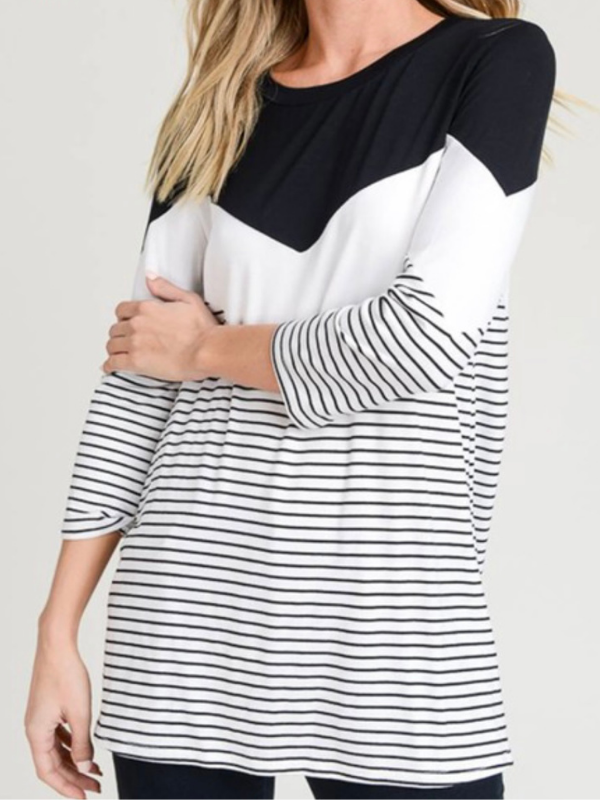 Black 3/4 Sleeve Chevron Top