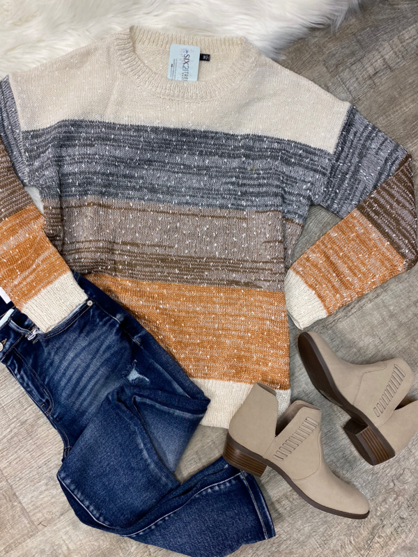 Ivory & Rust Striped Sweater