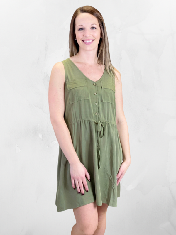 Olive Button Detailed Dress