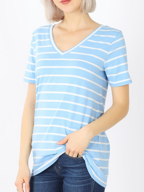 Spring Blue & Ivory Striped Cotton V Neck Tee