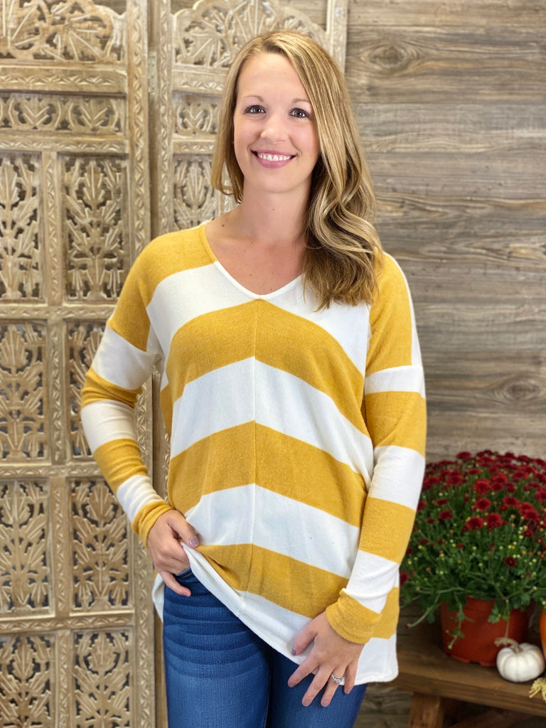 Mustard Striped Long Sleeve Top