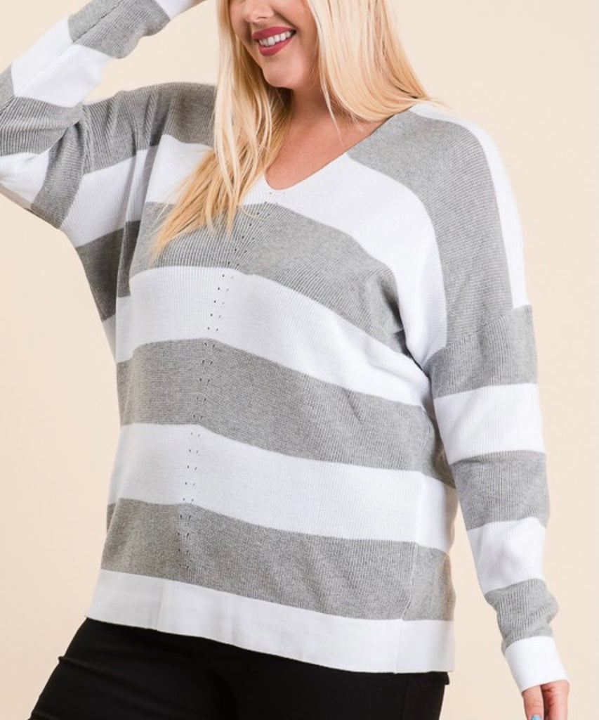 Heather Grey Bold Stripe Sweater