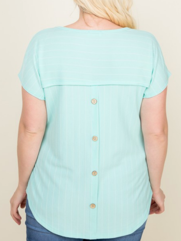 Mint Button Back Striped Tee (Curvy)