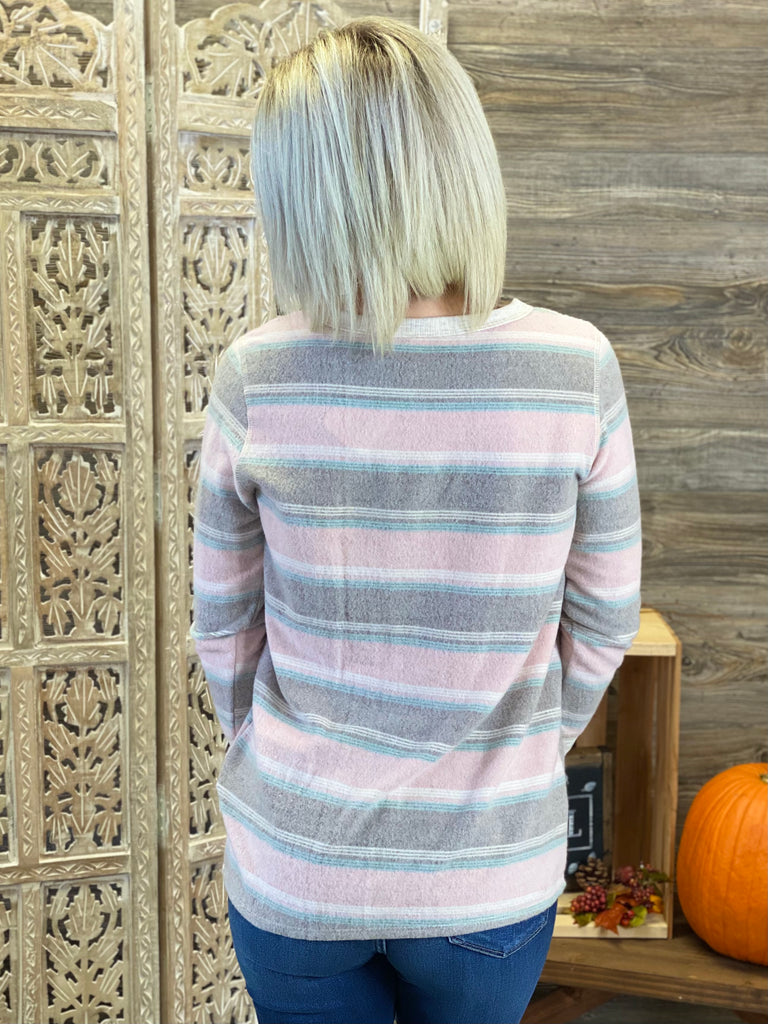 Mauve Multi Stripe Knit Long Sleeve Top