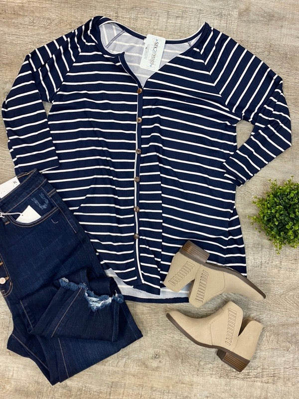 Navy & Ivory Striped Button Down Top (Curvy)