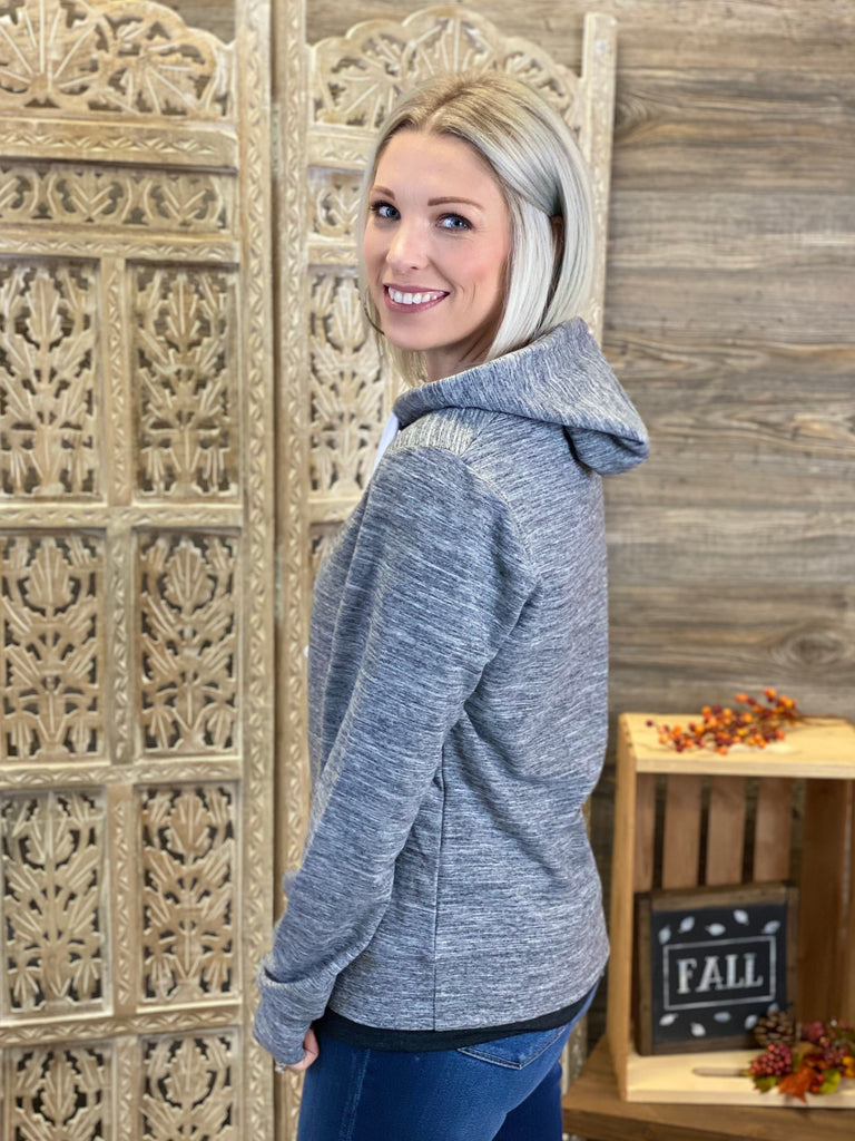 Marled Charcoal French Terry Pullover Hoodie