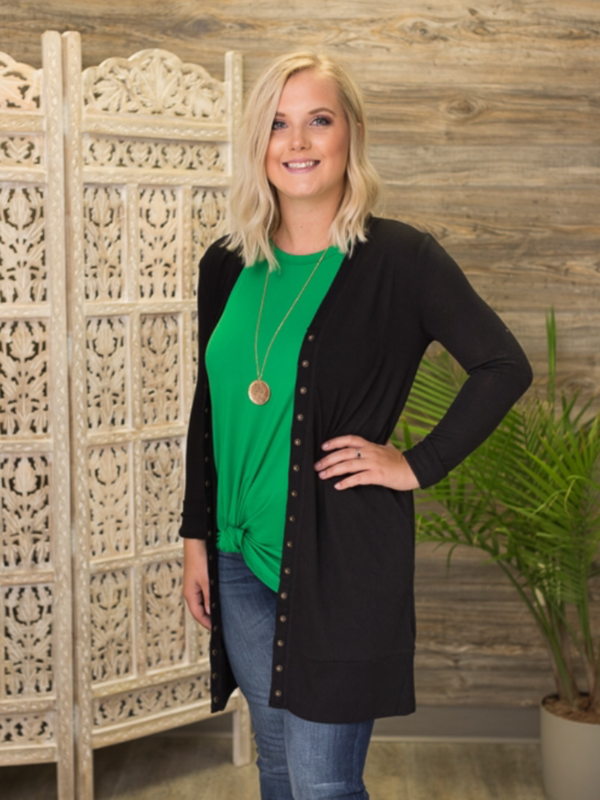 Snap Button Cardigan (2 Colors, Longer Length)