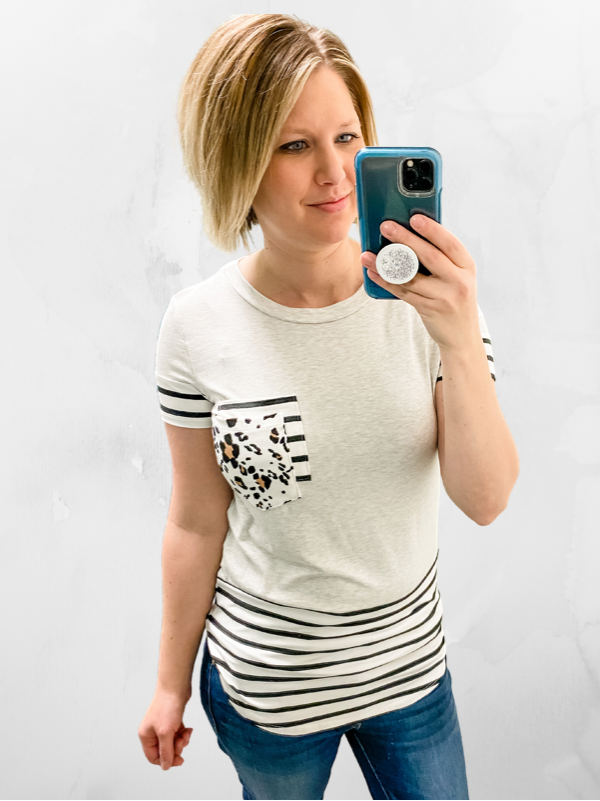 Heather Grey Leopard Pocket Tee