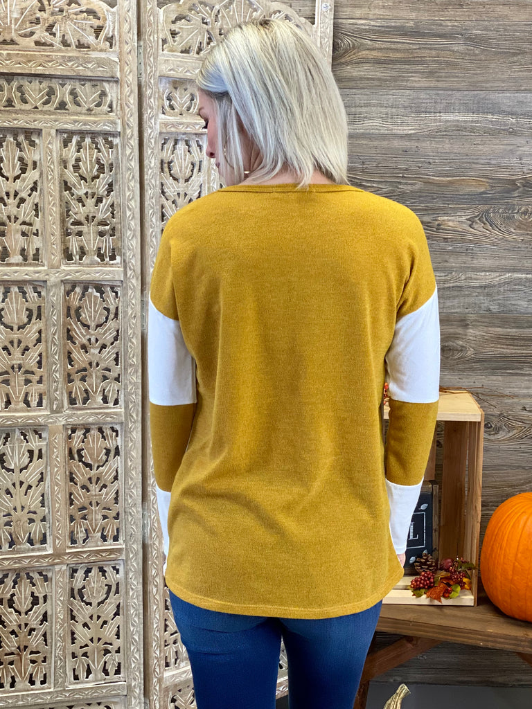 Mustard Melange Colorblock Top