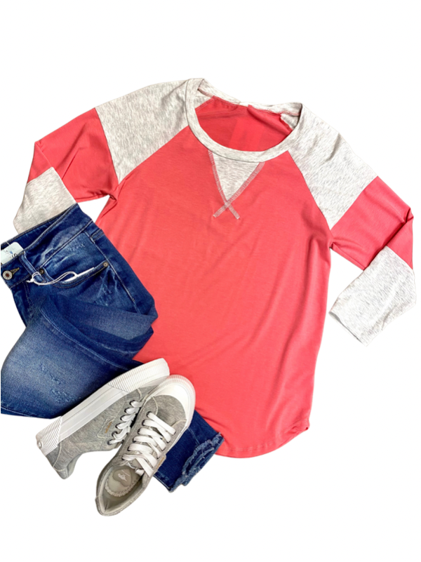 Coral Colorblock 3/4 Sleeve Top