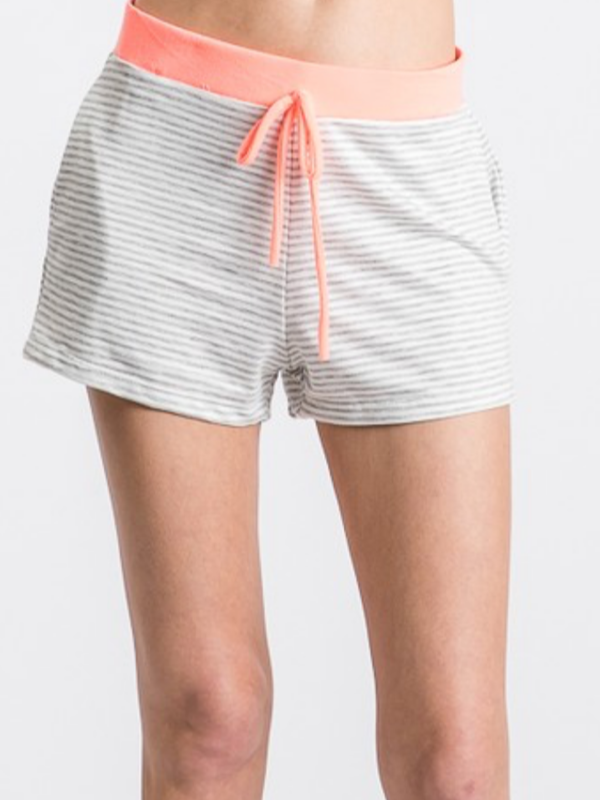 Heather Grey & Neon Coral Shorts