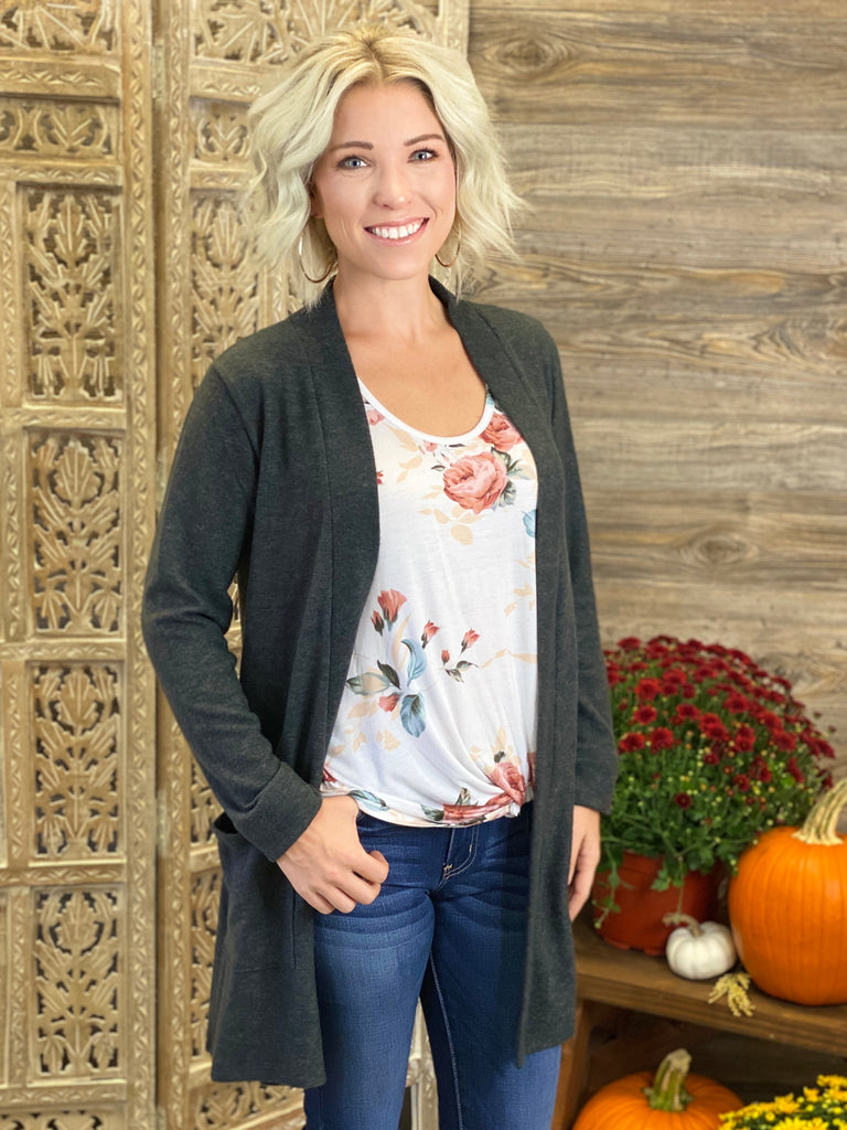 Charcoal Brushed Melange Open Front Cardigan