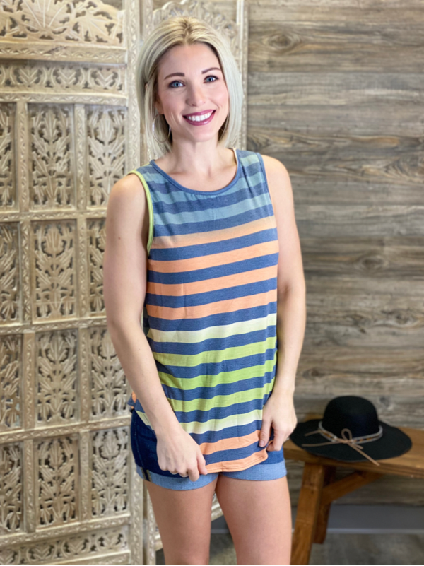 Multicolor Striped Sleeveless Top