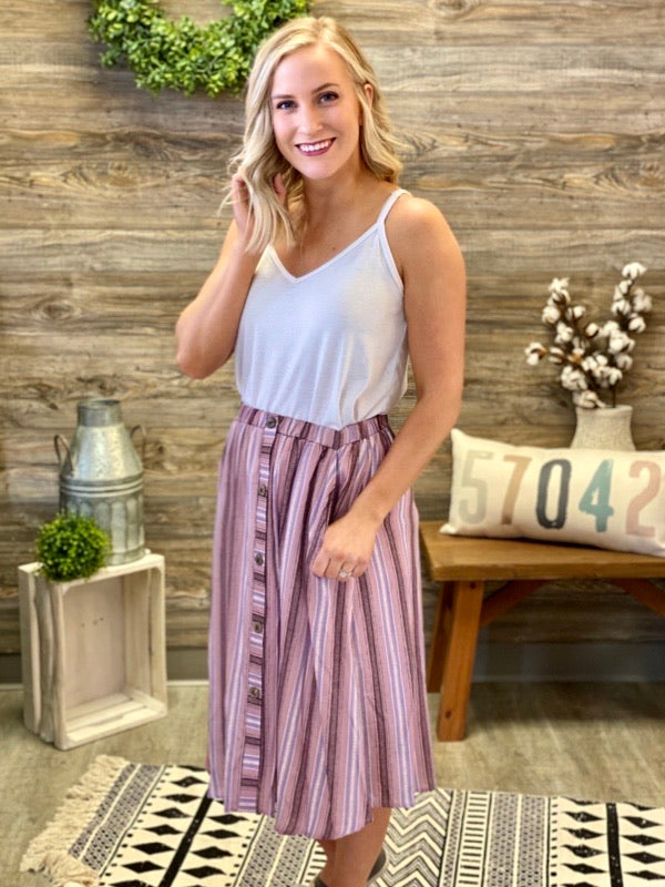 Mauve & Denim Multi Stripe Skirt