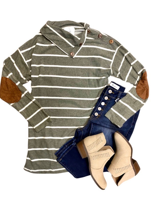 Olive Striped Sweater with Button Detail