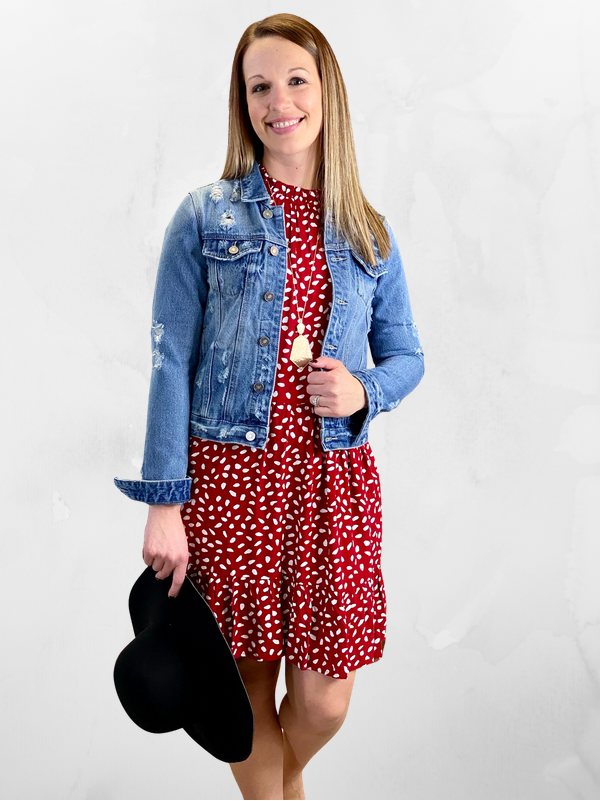 Red Ruffle Spotted Dot Print Dress