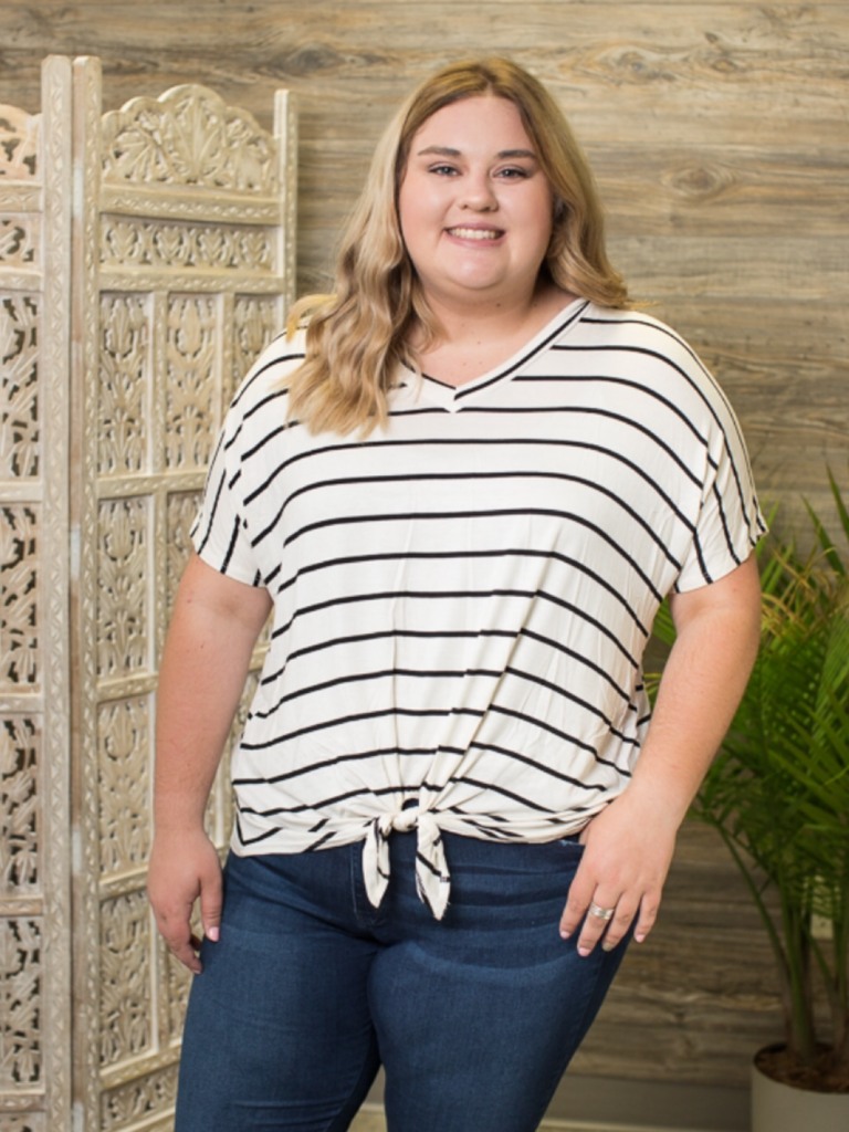 Ivory & Black Striped Front Tie Top