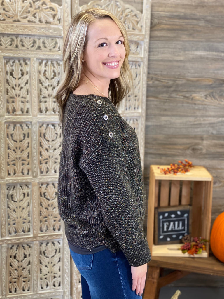 Olive Button Trim Sweater